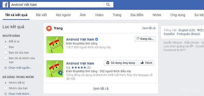 fanpage facebook 1 - Fanpage Android Việt Nam 16 triệu like biến mất