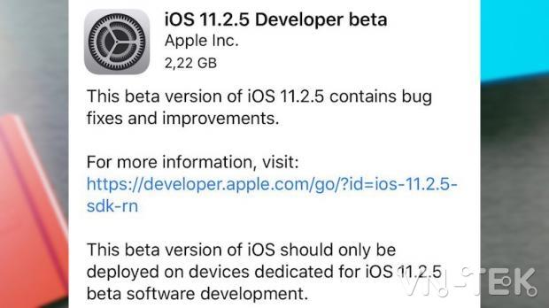 cap nhat ios 11 2 5 beta 3 - Hướng dẫn cập nhật iOS 11.2.1 chính thức và iOS 11.2.5 Beta 1