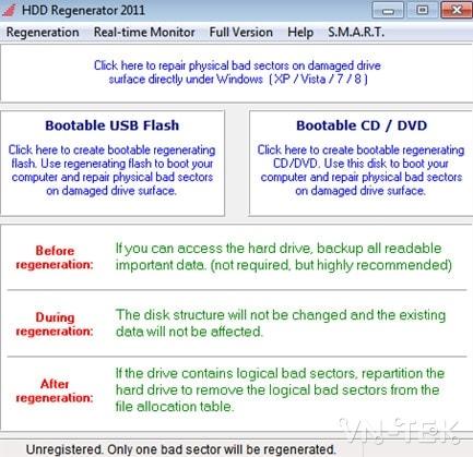 sua bad o cung bang hdd regenerator 1 - Hướng dẫn sửa BAD ổ cứng bằng HDD Regenerator