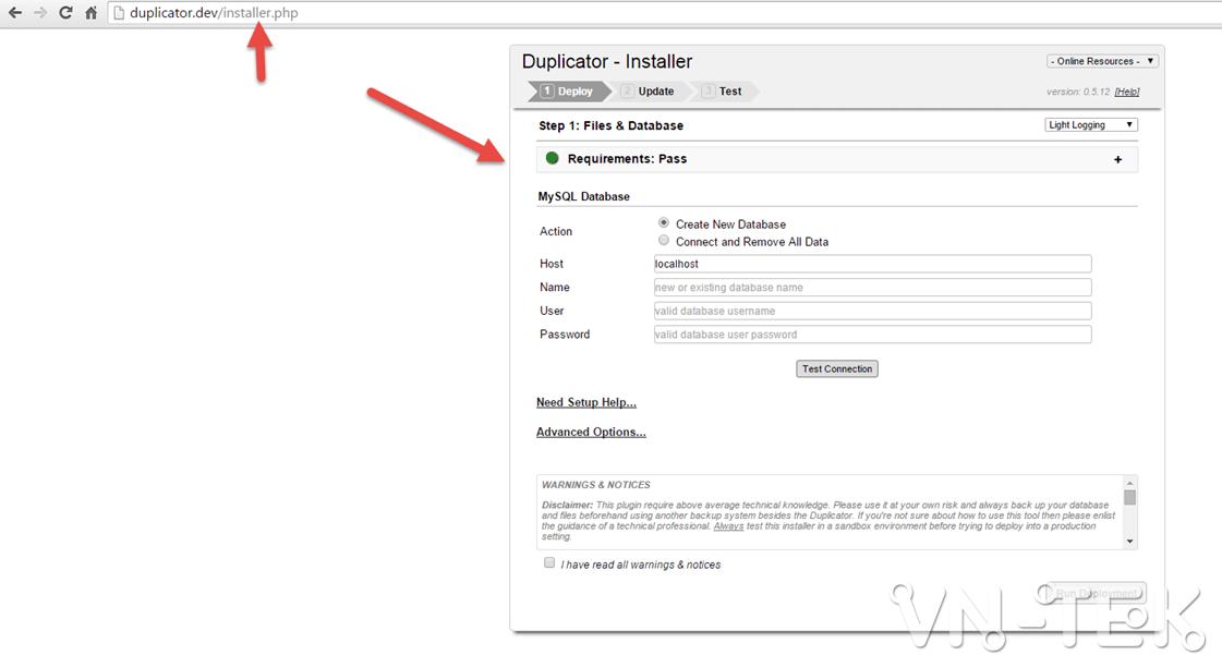 chuyen host worspress bang duplicator 5 - Hướng dẫn chuyển host nhanh chóng cho Wordpress bằng plugin Duplicator