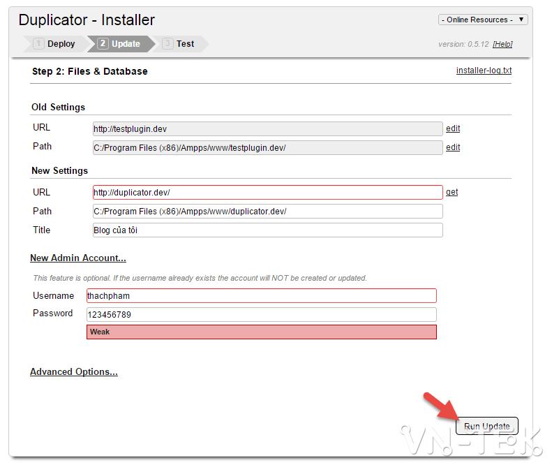 chuyen host worspress bang duplicator 7 - Hướng dẫn chuyển host nhanh chóng cho Wordpress bằng plugin Duplicator