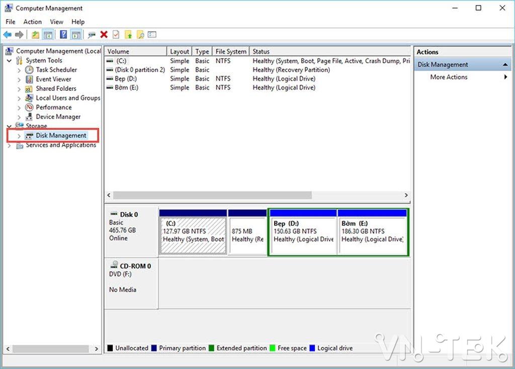 disk management 3 - Hướng dẫn chia và gộp ổ cứng trực tiếp trên Windows