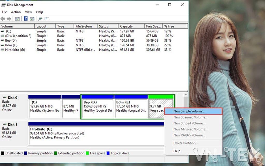 disk management 7 - Hướng dẫn chia và gộp ổ cứng trực tiếp trên Windows