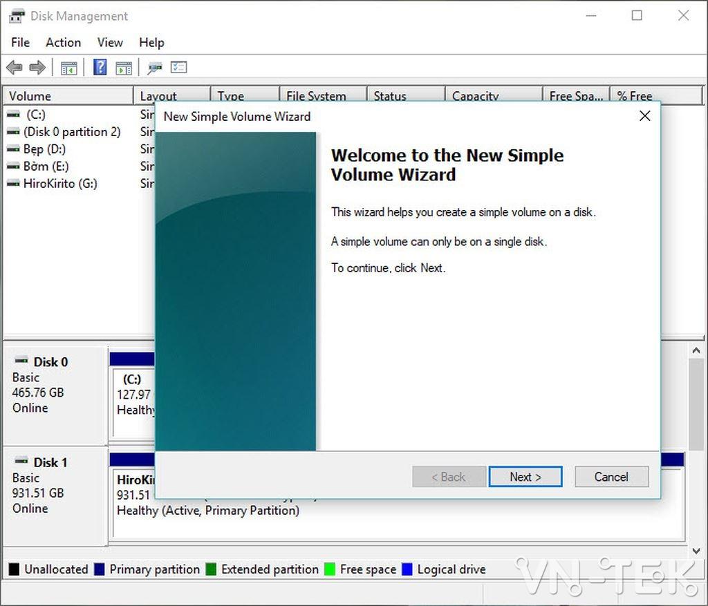 disk management 8 - Hướng dẫn chia và gộp ổ cứng trực tiếp trên Windows