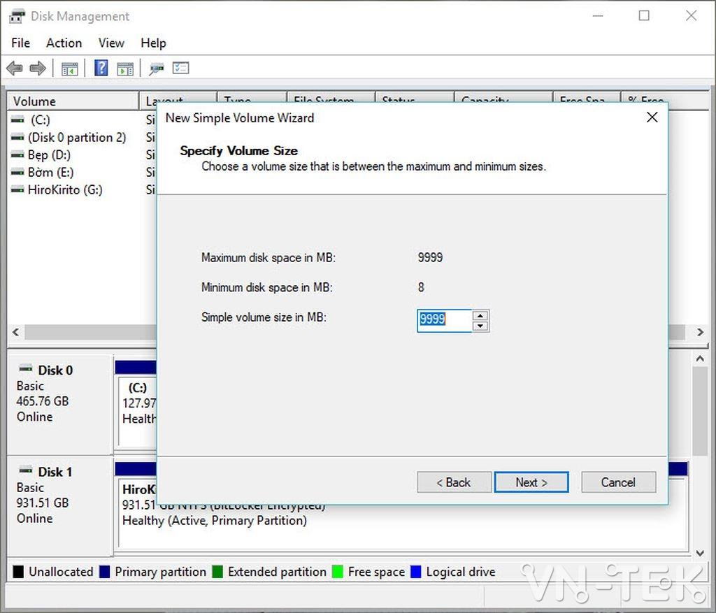 disk management 9 - Hướng dẫn chia và gộp ổ cứng trực tiếp trên Windows