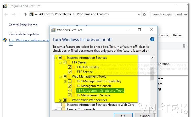 huong dan cai dat IIS trong windows 10 2 - Hướng dẫn cài đặt dịch vụ IIS trên Windows 10