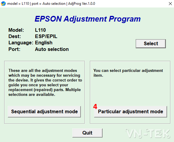 reset epson printer 3 - Hướng dẫn reset mực máy in Epson L110, L210, L300, L350, L355 bằng resetter tool