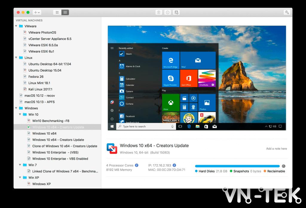vmware fusion 1 - VMware Fusion 11 giải pháp tuyệt vời để chạy Windows trên Mac